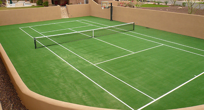 Backyard Tennis Court tour greens michigan | installers of synthetic grass tennis courts